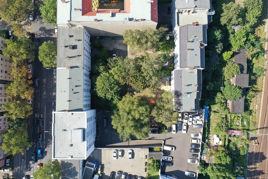 Drohnenaufnahme der Sickingenstraße 2 und 3