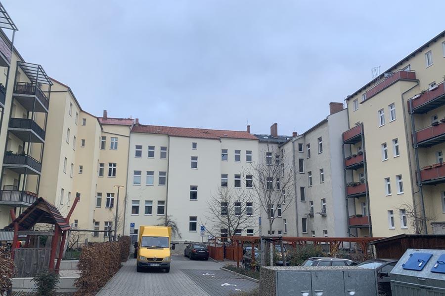 Hinterhof der Bestandsimmobilie in der Marienstraße, Cottbus