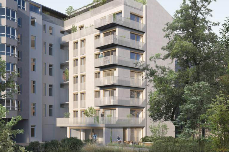 Seitenflügel des Immobilienprojektes in Kreuzberg