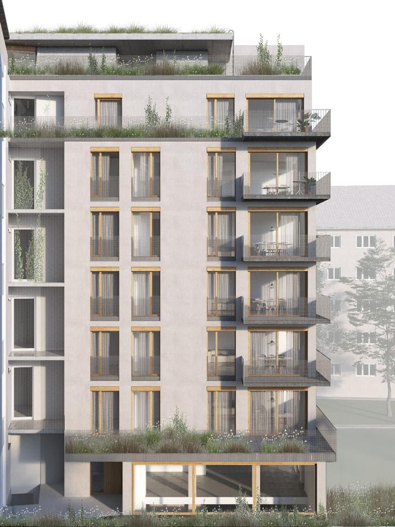 Seitenflügel in Kreuzberg mit Balkonen und Dachterrasse