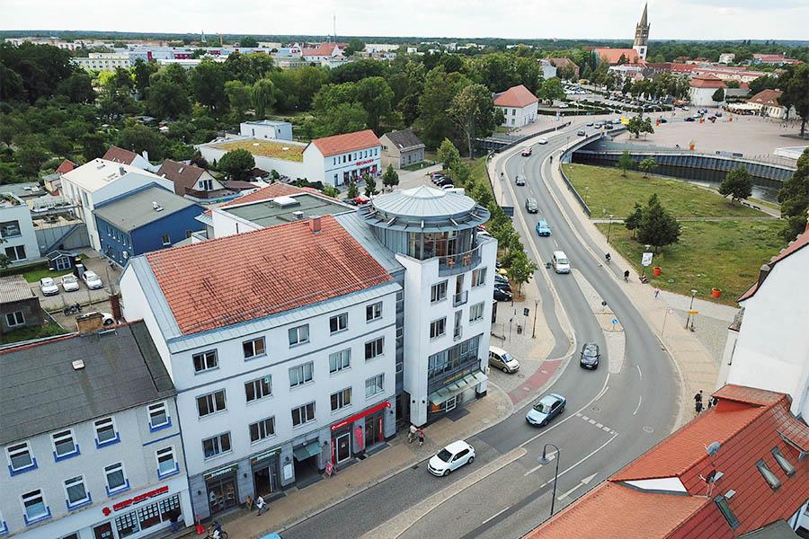 Bürogebäude Bernauer Straße in Oranienburg aus der Vogelperspektive